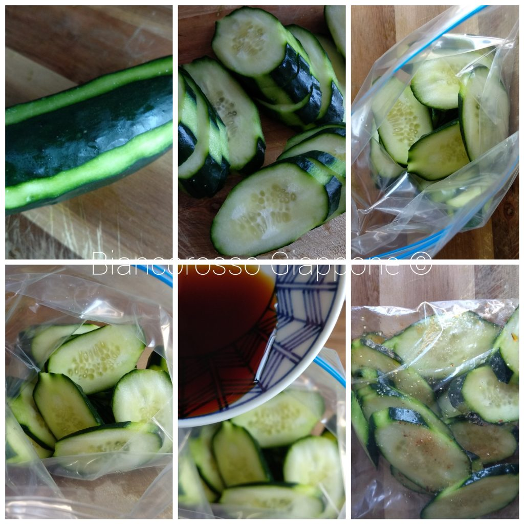 Preparazione dell'asazuke di cetrioli